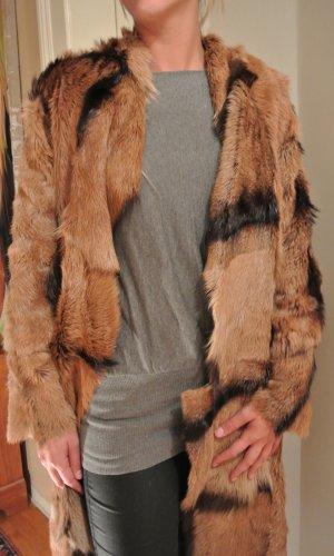 Manteau de fourrure multicolore cuir