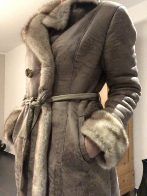 "Leder- / Pelzmantel ""Fake Fur ""in beige / braun"