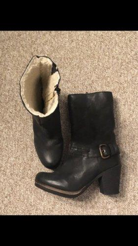Leder Plateau Boots gefüttert Gr. 38 schwarz