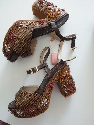 Alma en Pena Hoge hakken sandalen brons-bruin