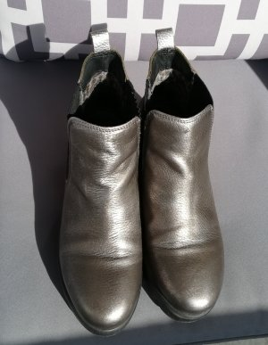 Apple of eden Platform Booties silver-colored-bronze-colored leather