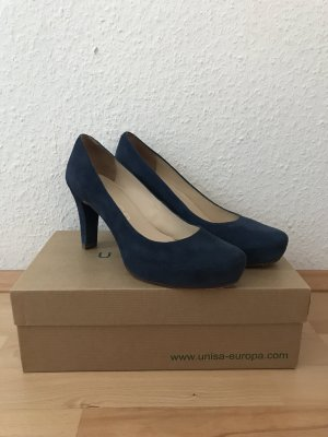 Leder-Pumps in Marineblau