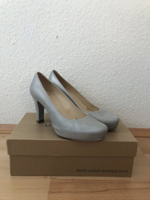 Leder-Pumps in Silber