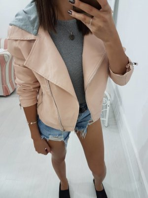 Faux Leather Jacket pink
