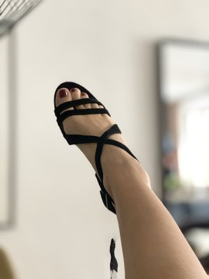 Leder Riemchen Sandaletten Absatz schwarz 38 39 NEU