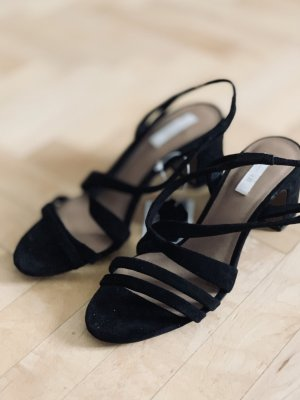 H&M Premium Strapped High-Heeled Sandals black suede