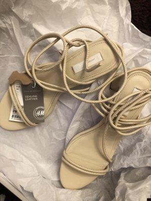 H&M Premium Sandales à talons hauts et lanière blanc cassé-blanc cuir