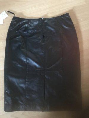 Heine Falda de cuero negro Cuero