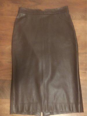 Zara Jupe en cuir brun rouge