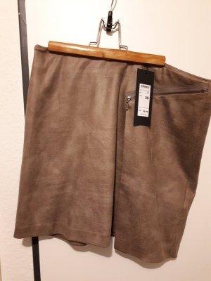 Zero Falda de cuero marrón claro