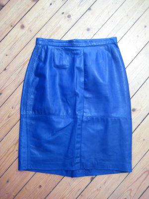 Leather Skirt neon blue leather