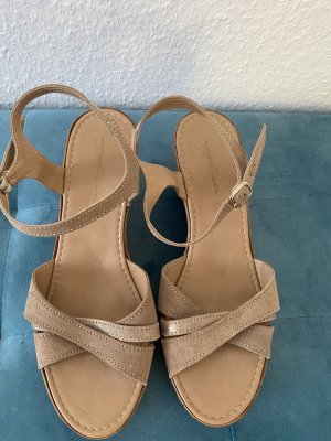 appetizer Wedge Sandals grey brown-beige leather