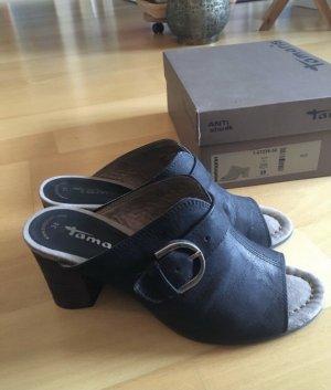 Tamaris High-Heeled Toe-Post Sandals black leather