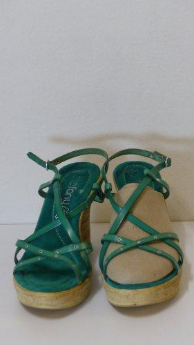 Sandales à plateforme vert cuir