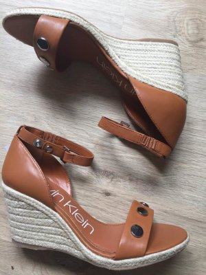 Calvin Klein Wedge Pumps cognac-coloured-silver-colored leather