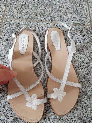 Lavorazione Artigiana Sandalo toe-post bianco-crema Pelle
