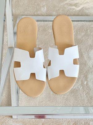 LEONARDO PRINCIPI Dianette Sandals white-cognac-coloured