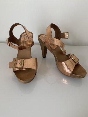 Leder Sandaletten in Rosé Gold made in Spain Gr. 37