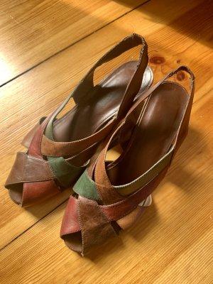 Sandales Salomé à talon haut multicolore cuir