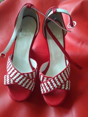 BGN Sandały na grubym obcasie biały-czerwony Skóra