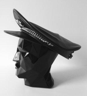 Gorra de plato negro-color plata Cuero