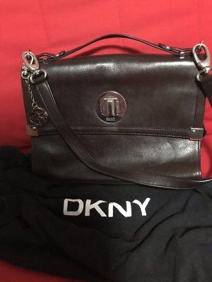 DKNY Sacoche d'ordinateur brun noir-argenté cuir