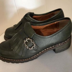 Leder Schuhe dunkelgrün Trachten Folklore Look Gr 38