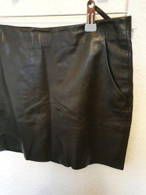 Hallhuber Jupe en cuir noir