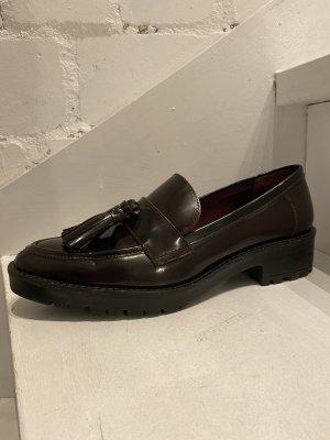 H&M Zapatos formales sin cordones burdeos-negro Cuero