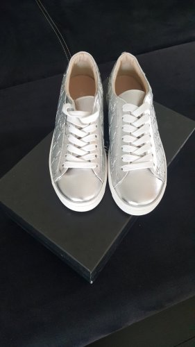 Marc Cain Lace Shoes white-silver-colored leather