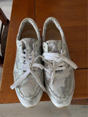 Mjus Zapatillas con tacón blanco-color plata