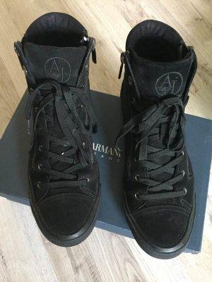 Armani Jeans Basket montante noir cuir