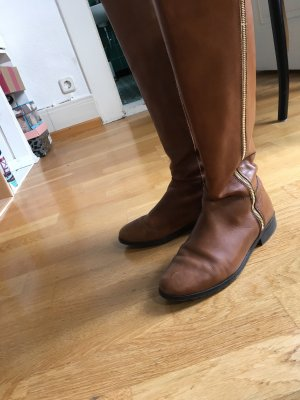Pier one Riding Boots brown-cognac-coloured leather