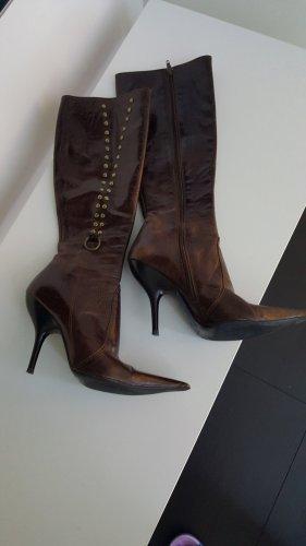 Botas de tacón alto color bronce-marrón