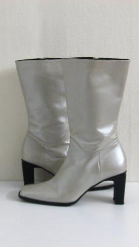 Leder Stiefel, metallic-Perlmutt