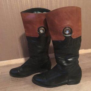 Leder Stiefel schwarz braun Gr. 39