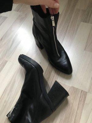 Zara Zipper Booties black-silver-colored