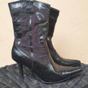 Leder Stiefeletten Heels Stiefel Gr.38 schwarz Graceland