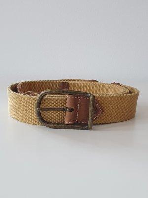 Leder/Stoffgürtel, braun/gelb, Größe 95, antikgold Schnalle