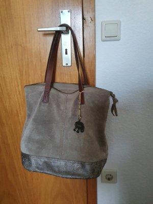 Shopper grijs-bruin-bruin