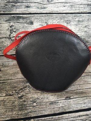 Borsa a spalla nero-rosso scuro