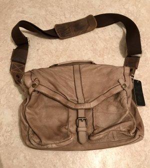 Leder Tasche neu mit Etikett braun Umhängetasche uni