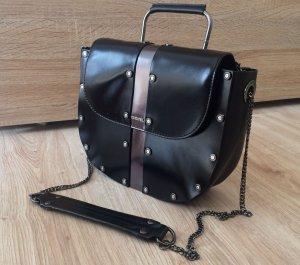 Leder Tasche Schwarz Silber mit Nieten DIESEL Ledertasche Umhängetasche Gliederkette