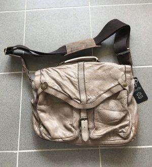 Leder Tasche Umhängetasche braun beige neu