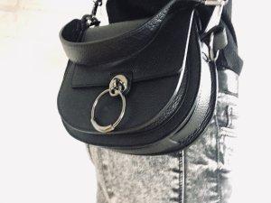 Leder Tasche Umhängetasche Handtasche Schultertasche schwarz edel