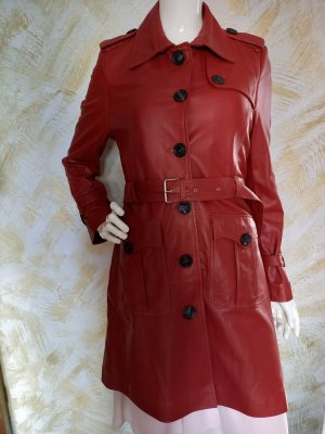 Studio Abrigo de cuero rojo oscuro-carmín