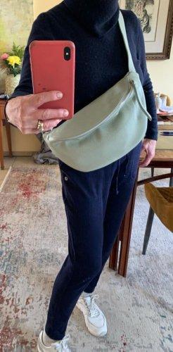 Leder Umhängetasche Bauchtasche in weißgrün neu