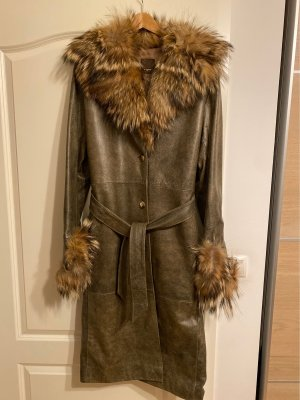 Leather Coat ocher-sand brown pelt
