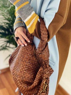 Leder Vintage Geflochten Umhängetasche Tasche Handtasche Abendtasche Geflochtene Premium Rindsleder Echtleder