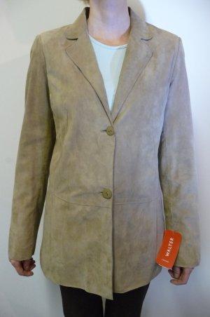 Leder Walter Blazer aus feinstem Veloursleder, beige, neu mit Etikett
